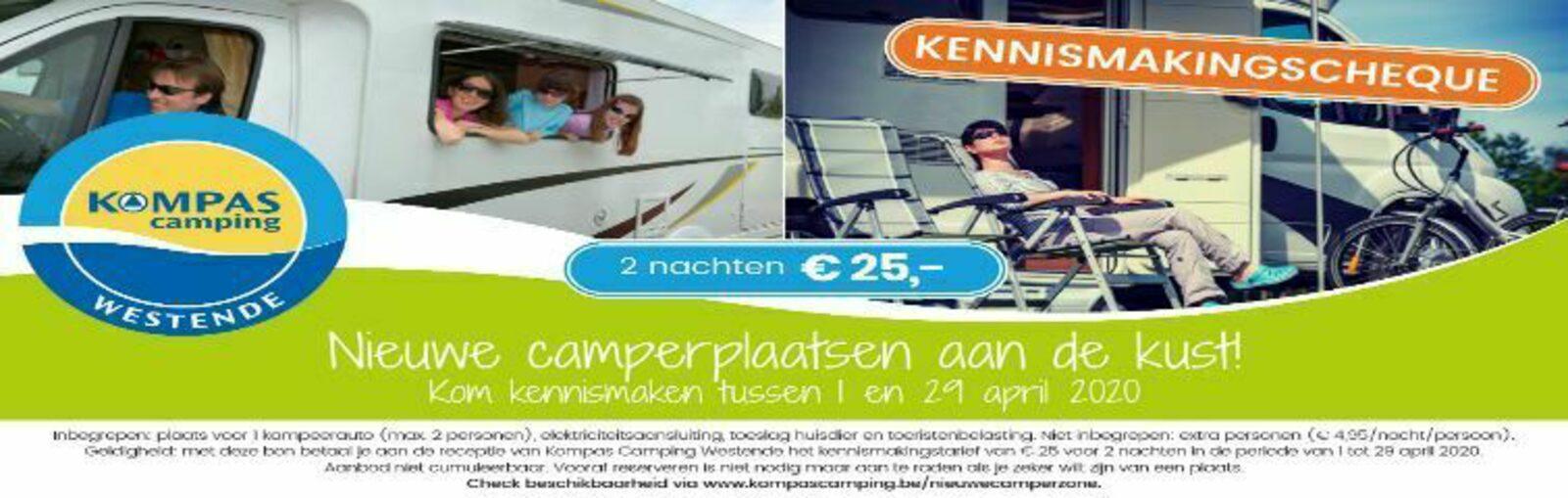 Kennismakingcheque € 25 camperzone Westende