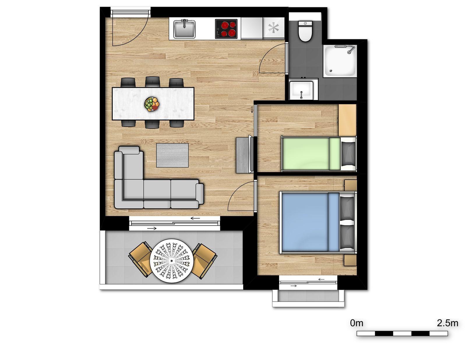 Nieuw vakantieverblijf voor 2 volwassenen en 3 kinderen met slaapkamer