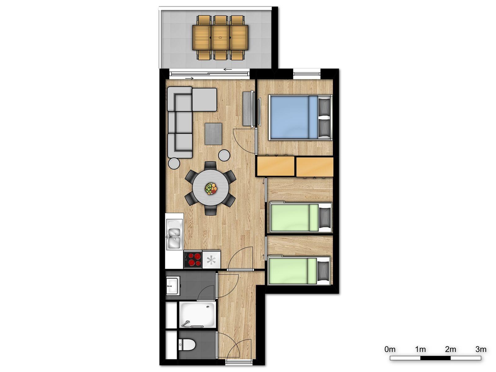 Suite famille pour 6 personnes avec 2 lits superposés