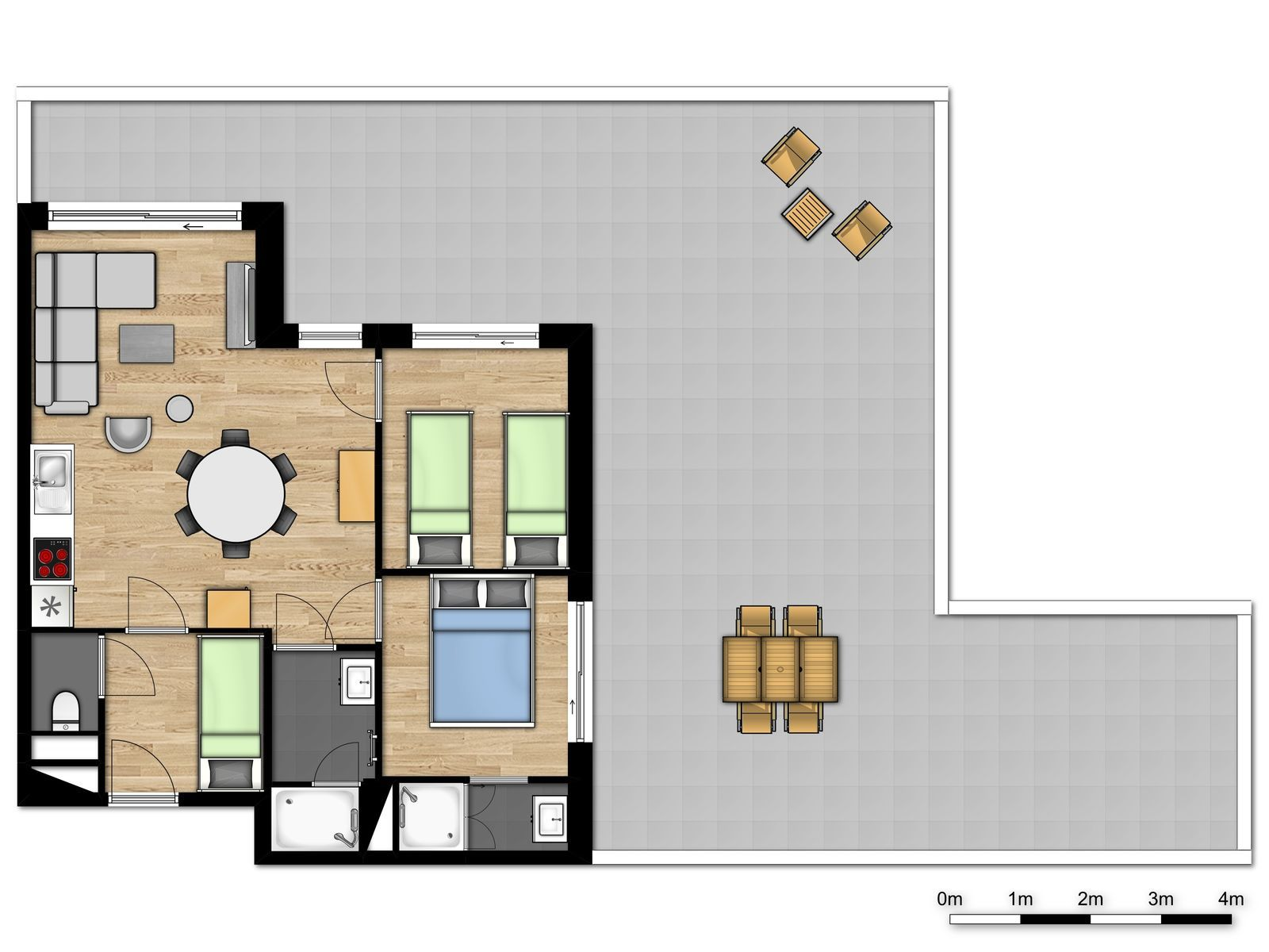 New deluxe penthouse for 6 people with 2 bedrooms