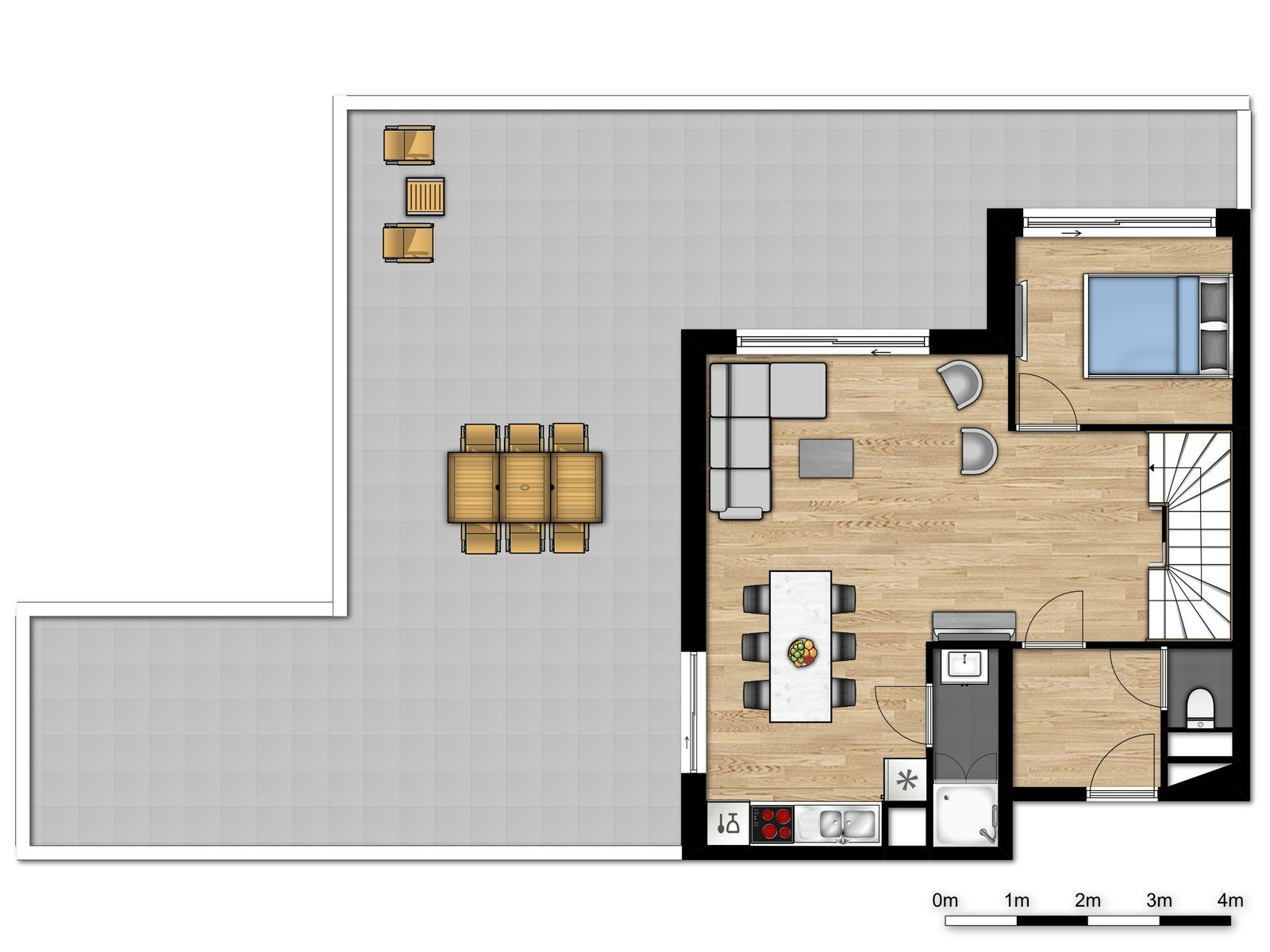 New premium penthouse for 6 people with 3 bedrooms and spacious terrace