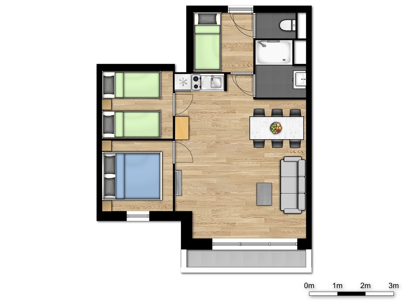 Family suite for 6 people with 1 bedroom and balcony