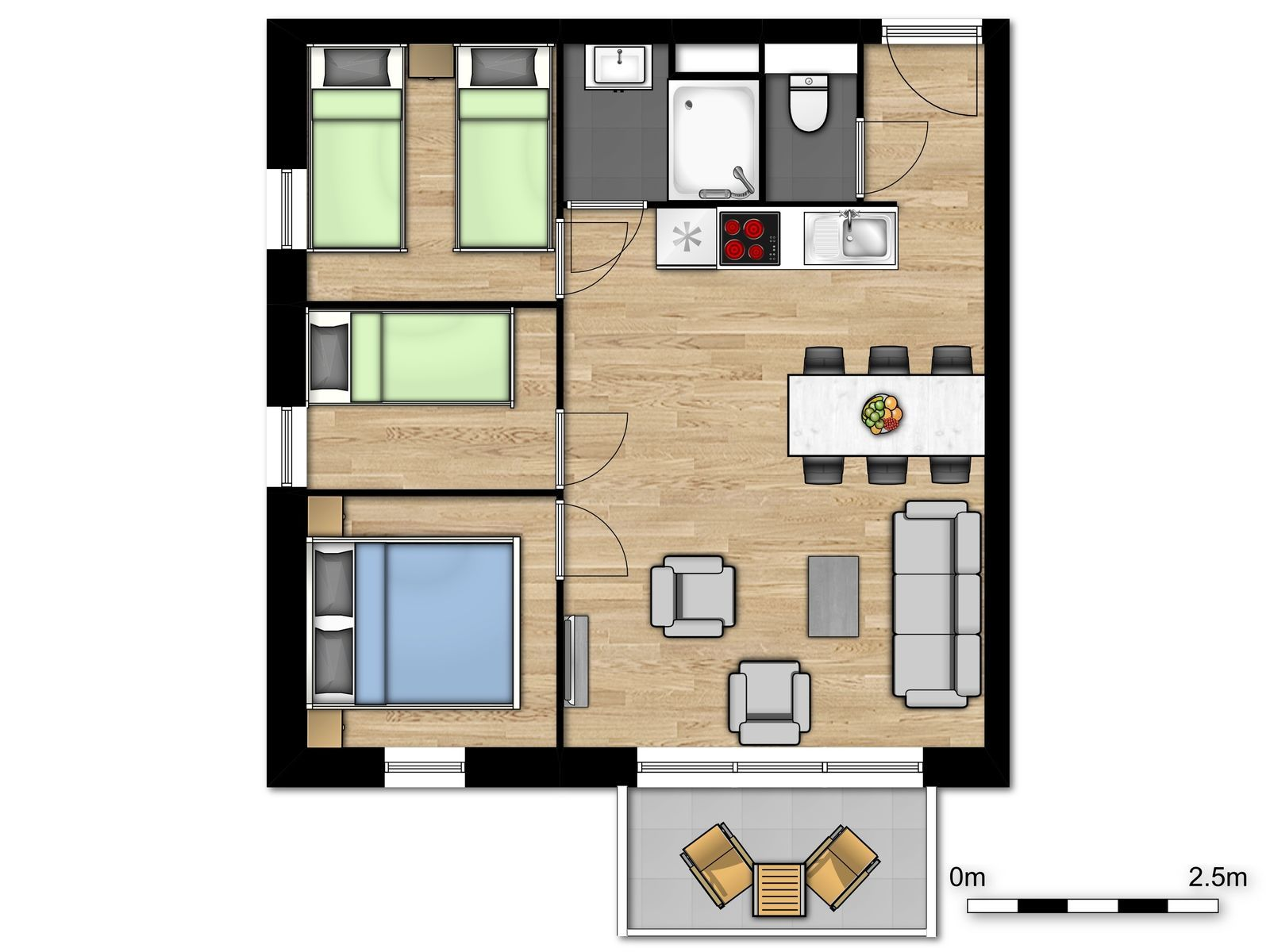 Holiday Suite luxe pour 6 personnes avec 3 chambres et balcon